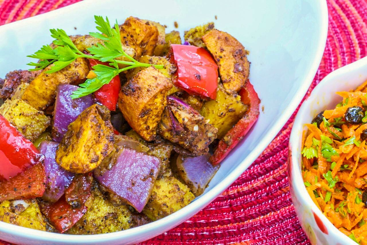 Image of a bowl of Moroccan roasted vegetables