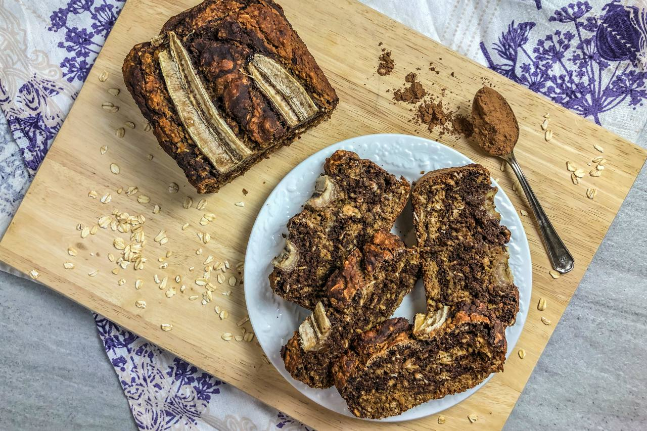 An image of gluten-free marble banana bread.
