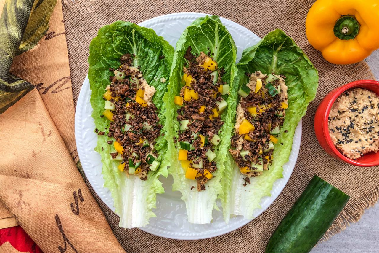 An image of a plate of Vegan Lettuce Tacos