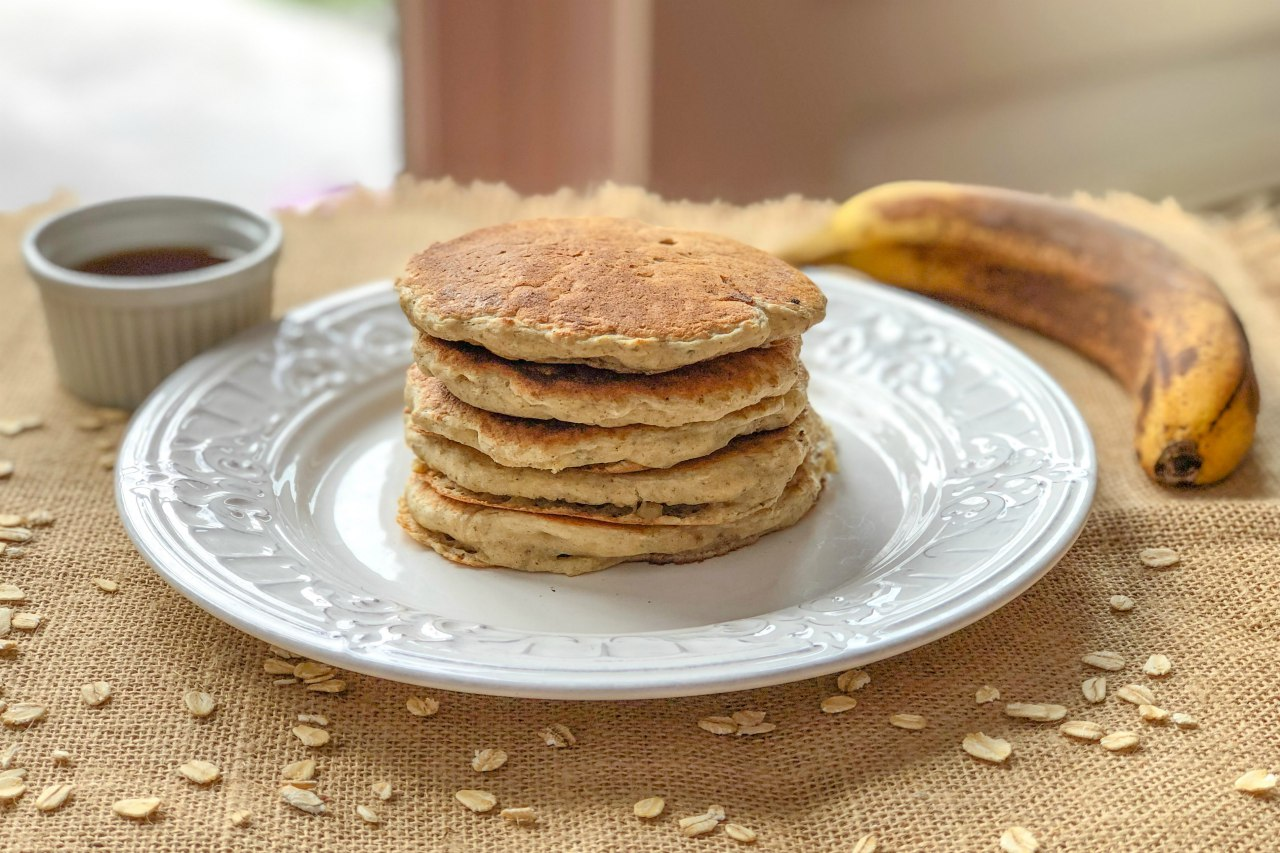 An image of a stack of gluten-free banana pancakes